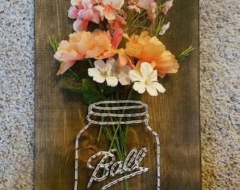 Ball Mason Jar String Art, Wall Decor, String Art, DIY