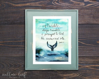 Jonah Whale Tail, Bible verse, Whale tail watercolor , printable art, Watercolor printable, Jonah and the whale , Home Decor, Baby room