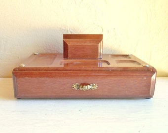 Wood Jewelry Box and Valet with Large Drawer - New Old Stock