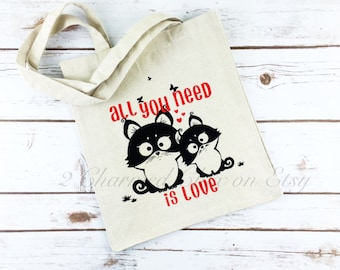 All You Need is Love/Kitten Tote Bag/Cat Tote Bag/Cat Lover Gift/Cat Lover Tote/Cat Lover/Cat Tote/Kitten Tote/Smitten Kittens/Canvas Tote