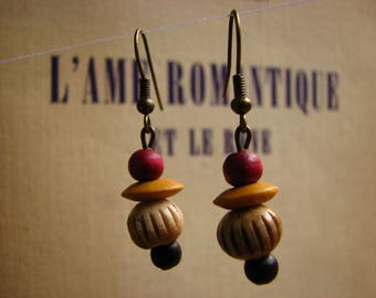 3636 -  Earrings Exotic Indian Wood, Hand carved