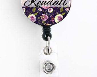 Retractable ID Badge Holder - Purple Floral - Personalized Name Badge Reel, Steth Tag, Lanyard, Carabiner Nurse Badge