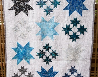 Blue, White and Silver 8-Point Star Quilt