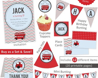 Wheels on the Bus Party Set (large) - red London Bus printable birthday party package - personalised digital invitation and decorations