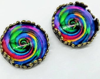psychedel earrings, handmade earrings, psychedel stud earrings, hippy earrings, psychedelic stud earrings, hippy cabochon earrings 1960s  #1