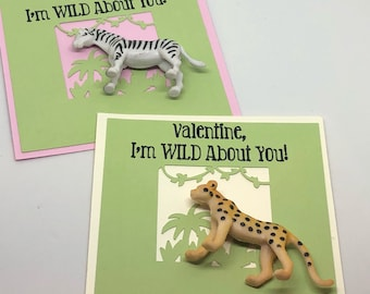 I'm Wild About You!  Valentine Cards with Safari Animal Toys- set of 6