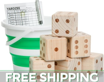 Yardzee & Yardkle Giant Yard Dice Set (6 Dice) with Collapsible Bucket, Laminated Score Cards, Dry Erase Marker   Backyard Outdoor Lawn Game