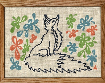 30% off when you buy 2 or more patterns / Modern Cross Stitch Pattern / PDF Chart Instant Download / Fox Among Flowers / Red Fox