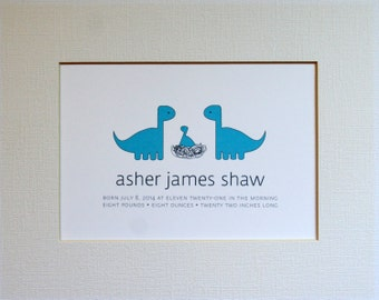 Custom New Baby Dinosaur Wall Art Print / Nursery Art / Birth Announcement / Dinosaur