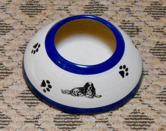 SALE!! Cavalier Spaniel Long Ear Water Bowl, Electric Blue (Medium)