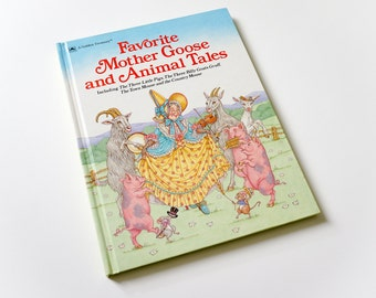 Vintage 1980s Childrens Book / Favorite Mother Goose and Animal Tales 1989 VGC Hc / Golden Treasury Book