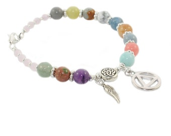 12 Step Recovery Bracelet, Sobriety Gift, Mixed Gemstone Beads