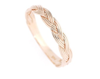 Braided Rope 14K Real Gold Band Art deco Wedding Band, simple modern Stacking ring white gold, rose gold dainty minimalist ring gift for her