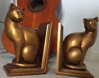 Art Deco cat figure bookends