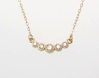 Diamond Necklace, Curved Diamond Bar Necklace, 14k Gold Diamond Necklace