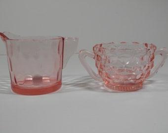 Mismatch Pink Depression Era Glass 2 Pc Jeannette Cube Sugar Bowl Honeycomb Creamer 1930s Antique Glassware Dinnerware Replacement Tableware