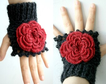 Black  Fingerless Gloves With Red Rose Wedding Bridal Gloves Bridesmaids Gloves / Under Usd 50 / Christmas Gift / outdoors gift