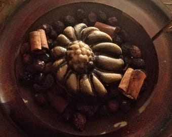 Primitive blackened beeswax sunflower with hips & Sticks