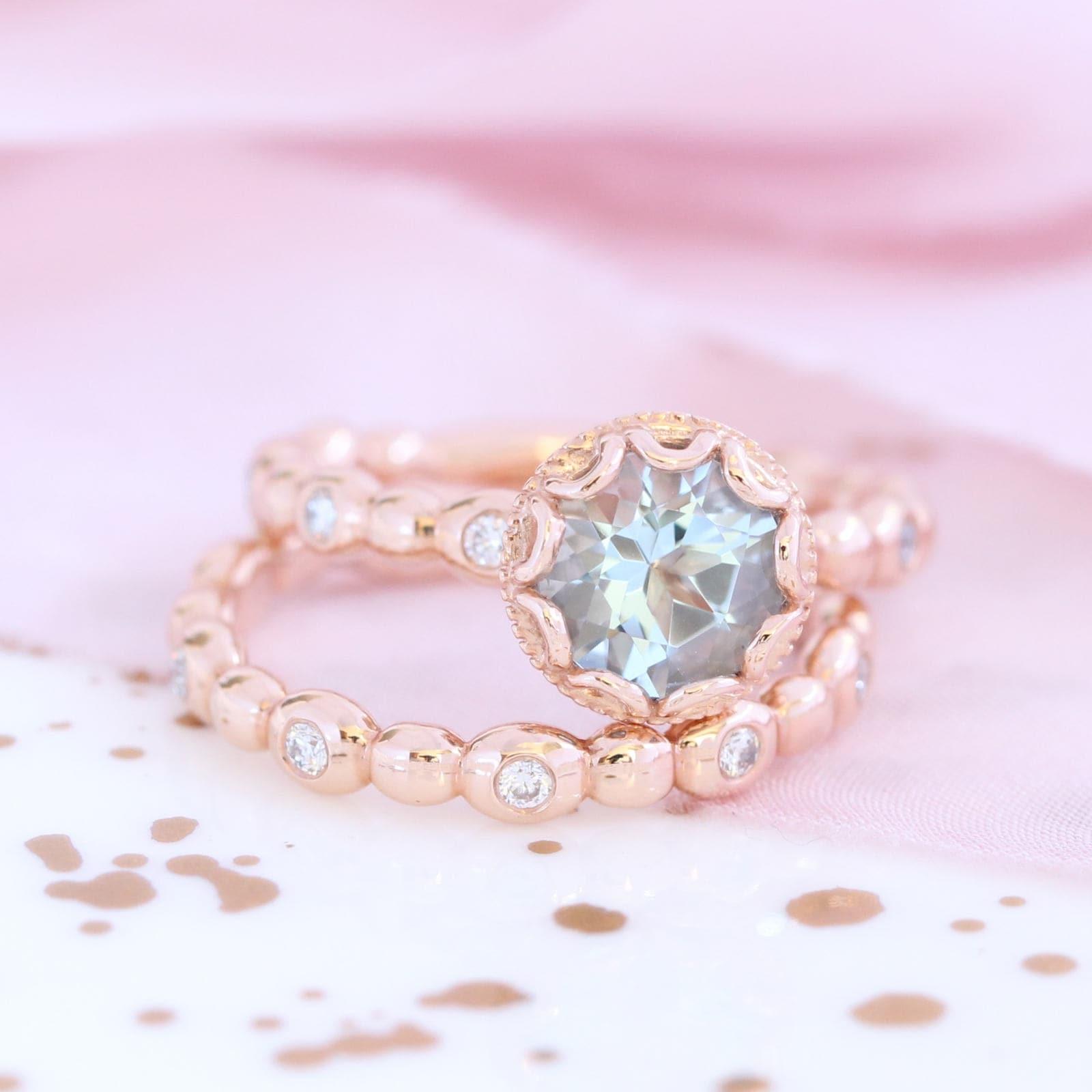 Floral Aquamarine Engagement Ring Bridal Set in 14k Rose Gold