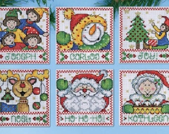 Design Works Plastic Canvas Kit - Christmas Tags set of 6 PC Ornaments, cross stitch ornament kit, christmas kit,
