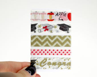 Graduation Planner Washi Sampler, 5 Graduation Washi Samples for your Erin Condren Life Planner, Mambi Happy Planner, Decorative Accessories