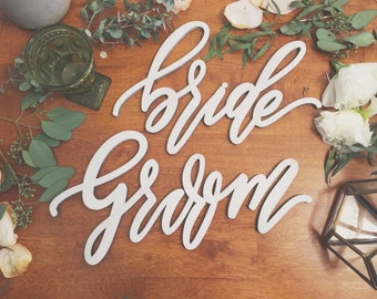 Bride and Groom Chair Backs - Modern Design - Wedding Chair Signs - Wedding Gift - Made of wood - Ships anywhere in the USA