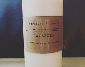 Soy Wax Pillar Candle - Lavender