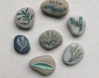 Set of 7 hand botanical painted river stones // zen garden decor