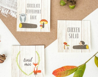 Folded Food Cards in Fox Design -Baby Shower Food Tent Cards - Woodland Baby Shower Food Tents