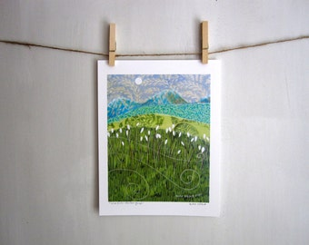 Wildflower Mountain Escape, rustic woodland, Archival Reproduction Print 8.5 x 11