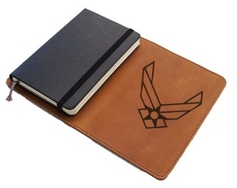 Handmade Moleskine Notebook Leather Cover - Air Force Symbol (FREE PERSONALIZATION)