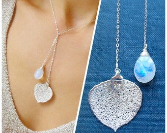 Moonstone necklace, June birthstone, real leaf necklace, lariat necklace, y necklace, silver dipped leaf, Otis b, semi precious gemstones