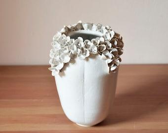 Tall stoneware vase in white with hydrangea flowers -  Handmade Ceramics  - Stoneware -