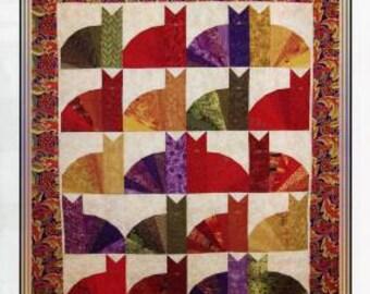 Phat Kats Quilt Pattern - Erin Underwood Quilts - Cat Quilt Pattern - Fat Quarter Friendly Lap Quilt Pattern, Cat Lover Quilt Pattern