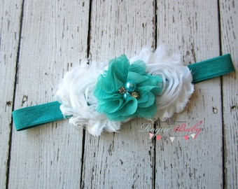 Teal Baby Headband - White Pearl Rhinestone. Photo Prop Baby Infant Newborn Toddlers Girls Women