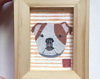 Bulldog Art, English Bulldog Gift, ACEO, Original