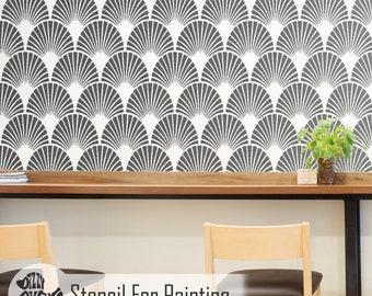 ARTDECO FAN STENCIL Vintage Wall Floor Furniture Craft Stencil for Painting - ARTD01