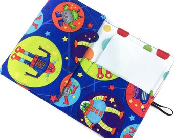 SALE Space robots crayon wallet READY to SHIP, child notebook, boy crayon roll, crayon organizer child art case portfolio coloring pouch kid