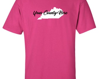 Kentucky County with Solid Silhouette of State, Kentucky Proud, Adult Unisex Tshirt, Show Off Your County, Select 2 Vinyl Colors