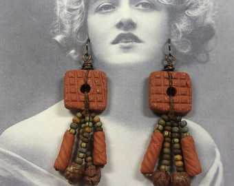 EARRINGS - Earthenware Square Spirit Hole Beads with Faux Ancient African Trade Beads, Handmade Earthenware Tube Beads, Niobium Ear Wires