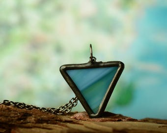 Small triangle glass necklace, gift for her, geometric jewelry, tiny colorful pendant, teacher gift