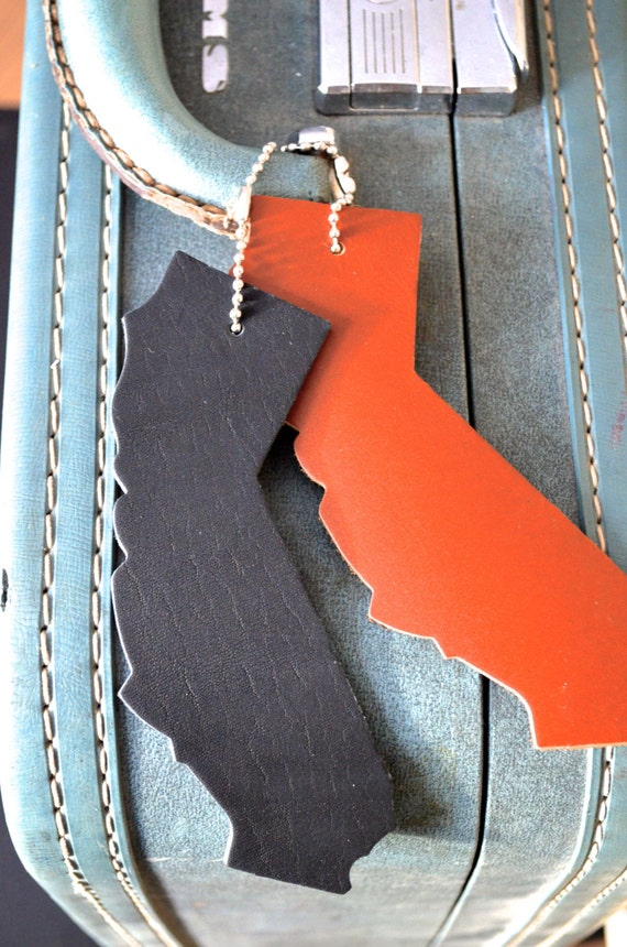 California Silhouette Luggage Tag - choose from black, caramel, or brown