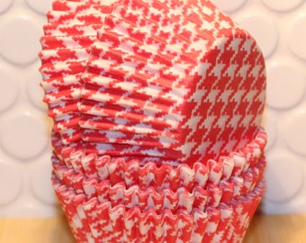 Red Houndtooth Cupcake Liners (Qty 45) Red Houndstooth Baking Cups, Red Cupcake Liners, Red Baking Cups, Cupcake Liners, Baking Cups