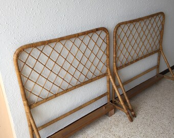 Pair of vintage rattan headboards