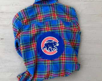 Upcycled Flannel Cubs Back Patch Shirt Medium // Chicago Cubs Upcycled Plaid Shirt
