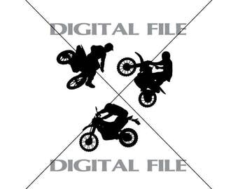Three Dirt Bike Riders Vector Images Vinyl Decal T-shirt Digital Cutting Files ,Svg File, Ai, Eps, PNG