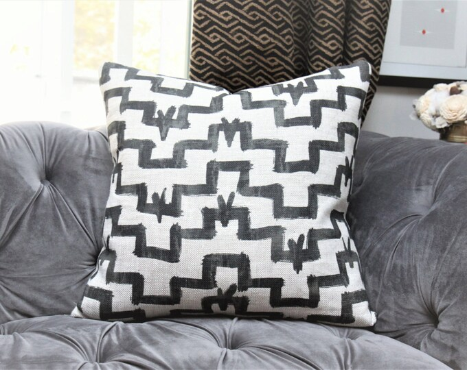 Zak and Fox Designer Pillow - Tulu in Ink - Black and Natural Pillow Cover - Geometric Throw - Modern Black Brush Stroke Pillow