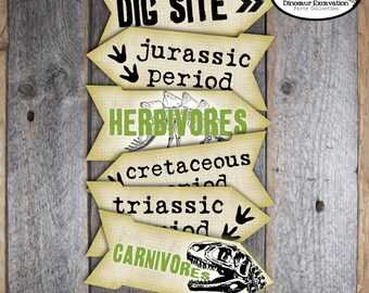 Dinosaur Directional Signs | Dinosaur Arrow Signs | Dino Dig Party Signs | Paleontology Directional Signs | Dinosaur Decorations | Printable