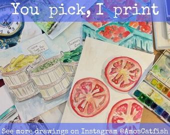 You Pick Watercolor 5x7, 8x10, 11x14, Archival Print, Print,  Watercolour, Art