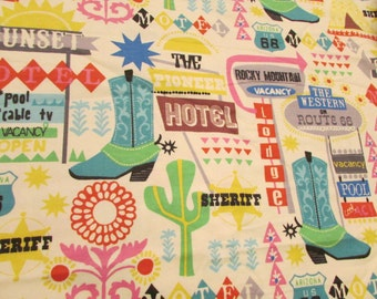 Flannel Fabric - Route 66 - By the yard - 100% Cotton Flannel